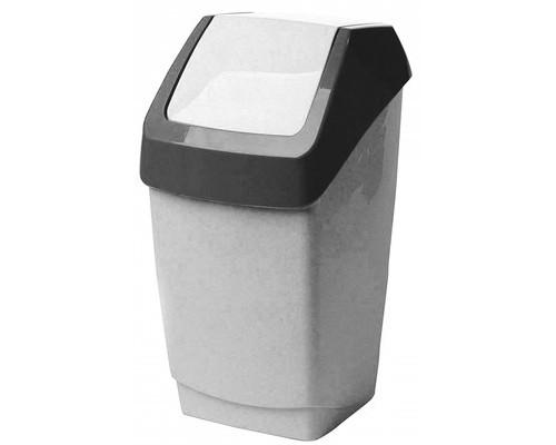 Ведро мусорное 15 л пластиковое с крышкой-вертушкой серый мрамор - (392939К)