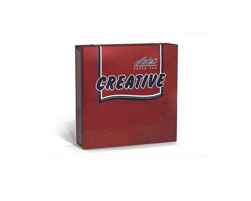 Салфетки бумажные Aster Creative 3-слойные 24x24 см бордовые с тиснением 20 штук - (162089К)