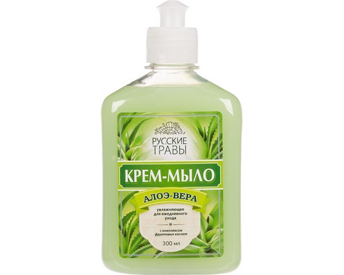 Жидкое крем-мыло Русские травы Алоэ вера 300 мл флакон с пуш-пу - (520343К)