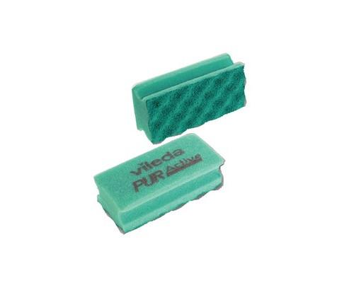 Губки для деликатных поверхностей Vileda Professional 2 штуки в упаковке абразивные зеленые 70х150х45 мм - (478376К)