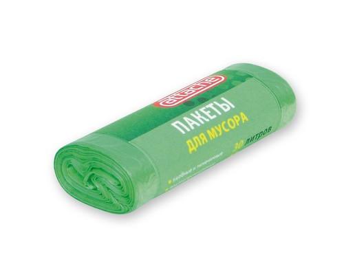 Мешки для мусора на 30 литров Attache зеленые 10 мкм в рулоне 30 штук 50x60 см - (107527К)