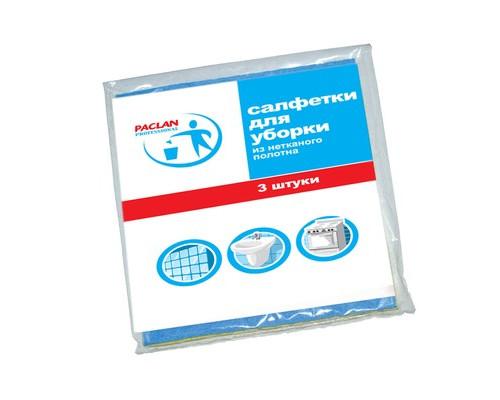 Салфетка для уборки из нетканого полотна Paclan 30х38 см 3 штуки в упаковке - (144341К)