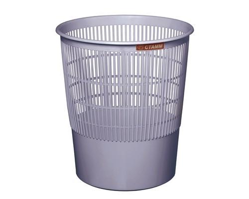 Корзина для мусора СТАММ 18 л пластиковая серая - (26526К)