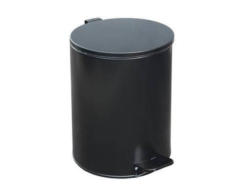 Ведро мусорное с педалью 15л стальное черное 250х330 мм - (486044К)