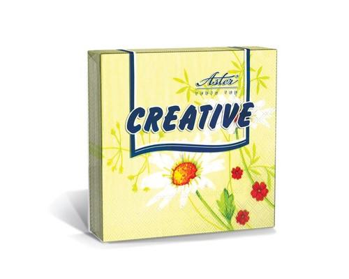 Салфетки бумажные Aster Creative Нежность 3-слойные 33x33 см желтые с рисунком 20 штук - (447939К)