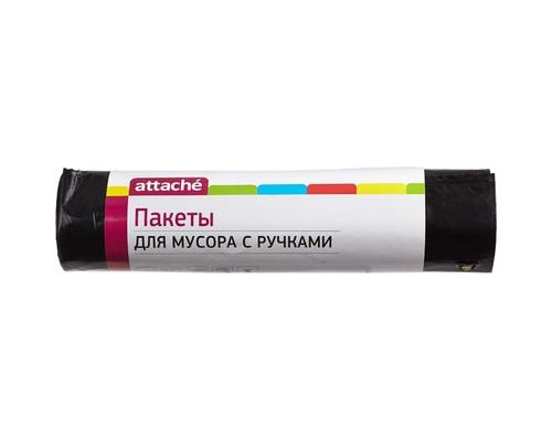 Мешки для мусора на 180 литров с ручками Attache черные 60 мкм в рулоне 5 штук 80x100 см - (330951К)