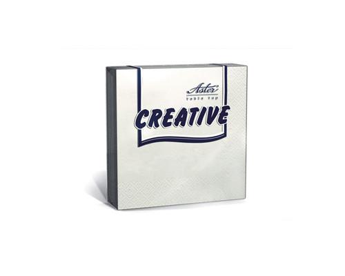 Салфетки бумажные Aster Creative 3-слойные 24x24 см белые с тиснением 20 штук - (162088К)