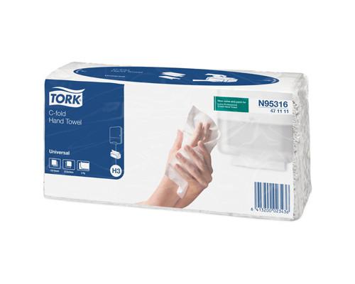 Полотенца бумажные листовые Tork Universal Н3 47111160 С-сложения 2-слойные 120 листов в пачке - (332018К)
