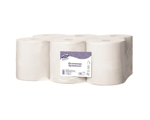 Полотенца бумажные в рулонах Luscan Professional 2-слойные 6 рулонов по 150 метров втулка с центральной вытяжкой - (601115К)