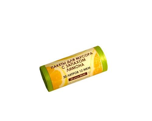 Мешки для мусора на 30 литров Знак качества желтые с ароматом лимона 12 мкм в рулоне 30 штук 50x60 см - (549518К)