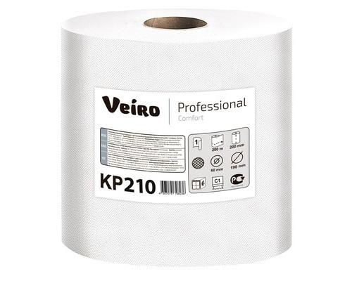 Полотенца бумажные в рулонах Veiro Professional Comfort KP210 1-слойные 6 рулонов по 200 метров с центральной вытяжкой - (509557К)