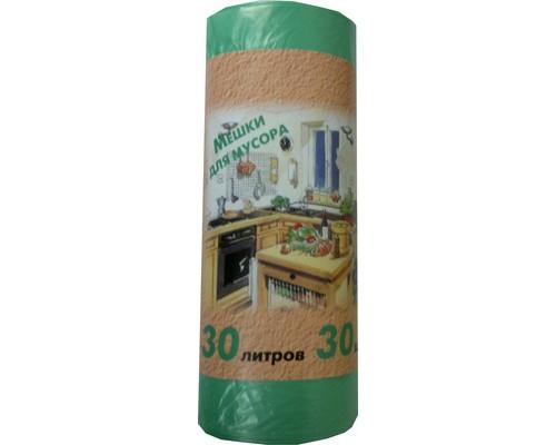 Мешки для мусора на 30 литров зеленые 10 мкм 50x60 см 30 штук в рулоне - (328813К)