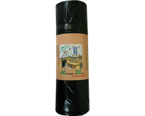 Мешки для мусора на 40 литров с завязками черные 30 мкм в рулоне 20 штук 55x70 см - (328806К)