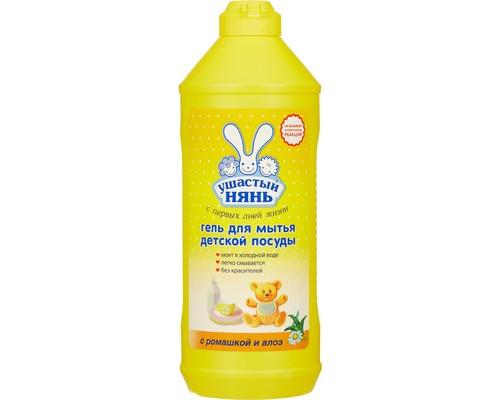 Средство для мытья детской посуды Ушастый Нянь 500 мл гель с экстрактом ромашки и алоэ - (267186К)