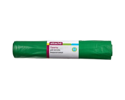 Мешки для мусора на 120 литров биоразлагаемые Attache зеленые 40 мкм в рулоне 20 штук 70x110 см - (301954К)