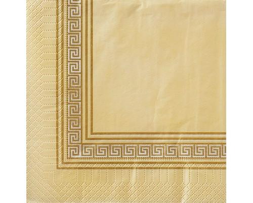 Салфетки бумажные Классика. Греческие мотивы 3-слойные 33x33 см бежевые с рисунком 20 штук в упаковке - (449694К)
