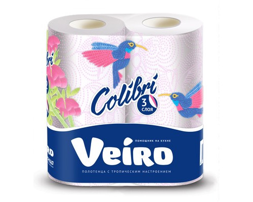 Полотенца бумажные Veiro Colibri с цветным тиснением трехслойные 2 рулона - (467759К)