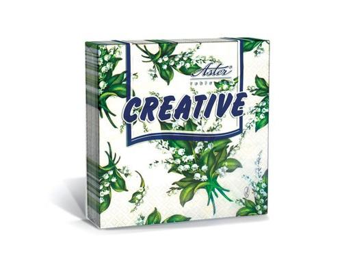 Салфетки бумажные Aster Creative Ландыши 3-слойные 33x33 см белые с рисунком 20 штук - (447938К)
