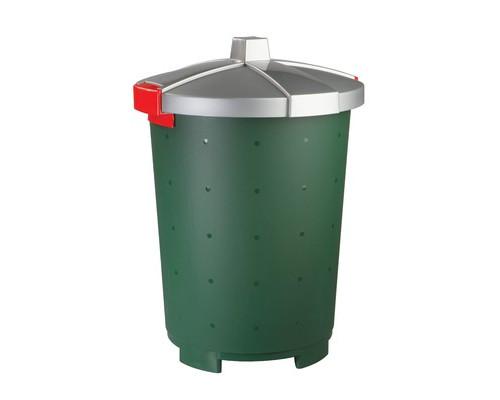 Бак пластиковый 45 л для пищевых и непищевых продуктов зеленый с крышкой - (330697К)
