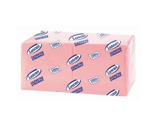 Салфетки бумажные Luscan Profi Pack 1-слойные 24x24 см пастель розовые 400 штук - (470889К)