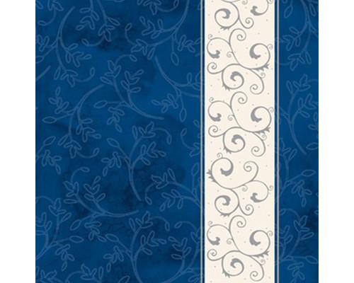 Салфетки бумажные Классика. Серебряная полоса 3-слойные 33x33 см синие с рисунком 20 штук - (449698К)
