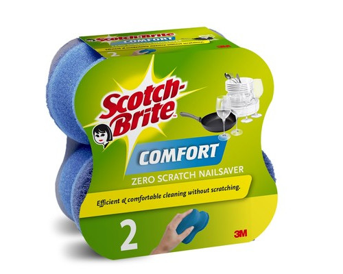 Губки для мытья посуды 3M Scotch-Brite Комфорт Деликат поролоновые 130х65х55 мм 2 штуки - (502439К)