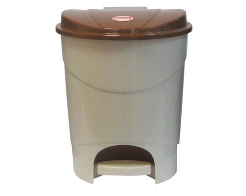 Ведро мусорное с педалью 19 л пластиковое бежевый мрамор - (392942К)