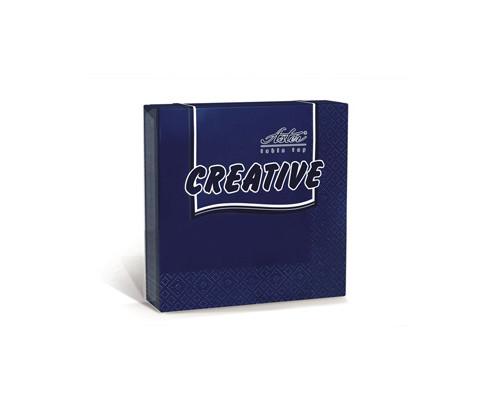 Салфетки бумажные Aster Creative 3-слойные 24x24 см синие с тиснением 20 штук - (162090К)
