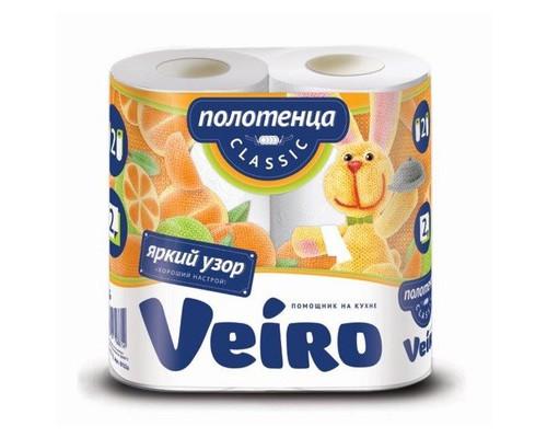 Полотенца бумажные Veiro Classic с цветным тиснением двухслойные 2 рулона - (393870К)