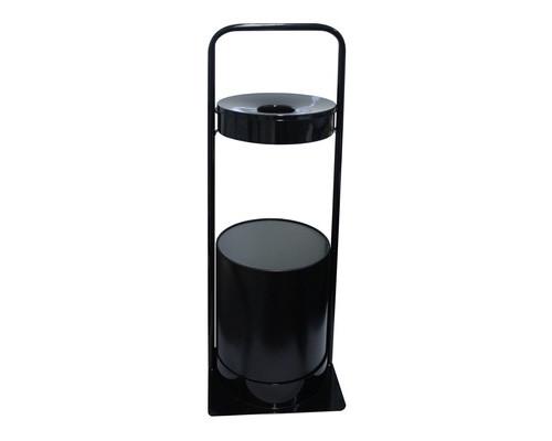 Урна-пепельница для улицы 15 л стальная черная переносная с ручкой - (643321К)
