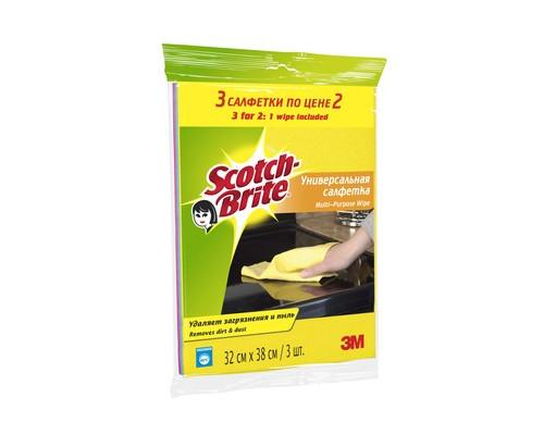 Салфетки Scotch-Brite вискоза 120 г/м 32х38 см 3 штуки в упаковке - (502449К)