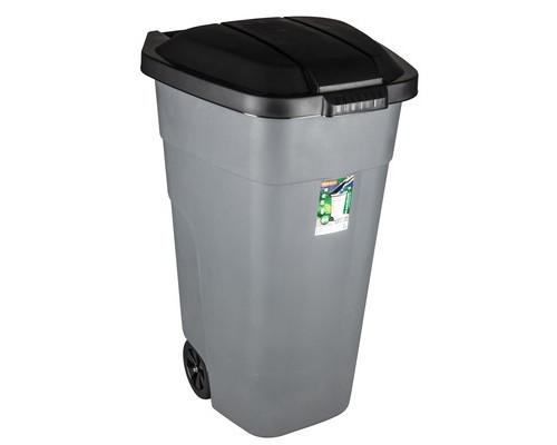 Контейнер-бак мусорный 110 л пластиковый на 2-х колесах с крышкой серый - (144343К)