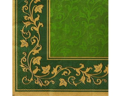 Салфетки бумажные Классика. Цветочные узоры 3-слойные 33x33 см зеленые с рисунком 20 штук - (449695К)