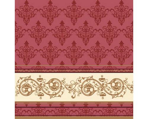 Салфетки бумажные Классика. Золотой узор 3-слойные 33x33 см бордовые с рисунком 20 штук - (449697К)