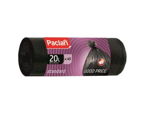 Мешки для мусора на 20 литров Paclan Standart черные 7.3 мкм в рулоне 40 штук 45x55 см - (195460К)