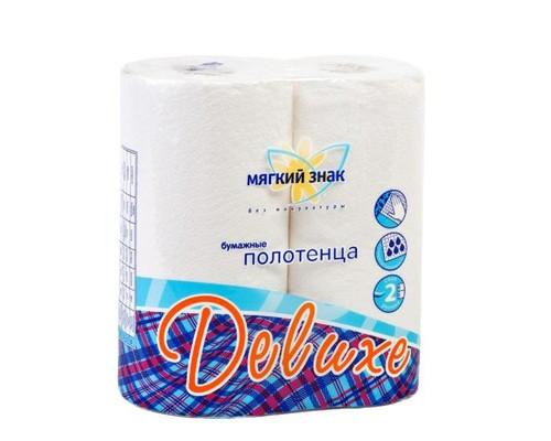 Полотенца бумажные Мягкий знак Deluxe с тиснением двухслойные 2 рулона - (214168К)