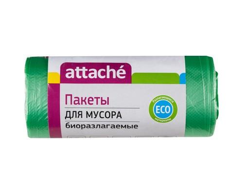 Мешки для мусора на 30 литров биоразлагаемые Attache зеленые 10 мкм в рулоне 30 штук 50x60 см - (301951К)