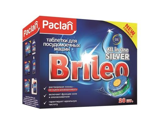Таблетки для посудомоечных машин Paclan Brileo All in One Silver 28 шт/уп - (667309К)