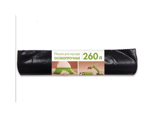 Мешки для мусора на 260 литров черные 110 мкм 10 штук в рулоне 90x140 см - (365994К)