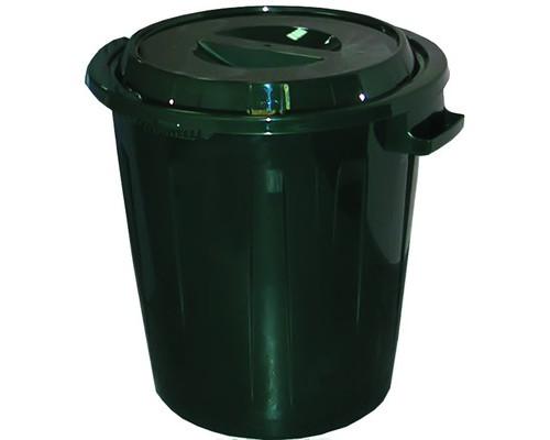 Бак для мусора 60 л с крышкой пластиковый цвет зеленый - (219428К)