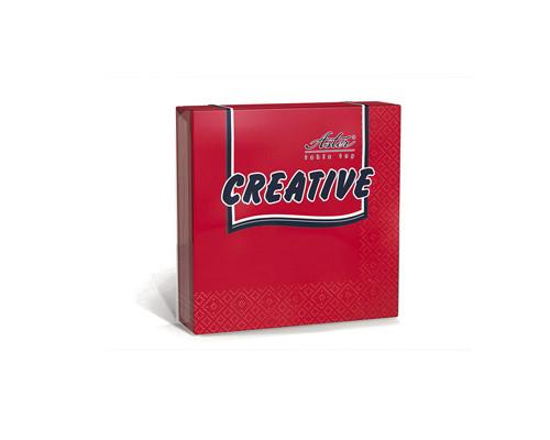 Салфетки бумажные Aster Creative 3-слойные 33x33 см красные с тиснением 20 штук - (162097К)