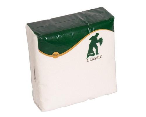 Салфетки бумажные Style Classic 24х24 см белые с тиснением 50 штук - (556718К)