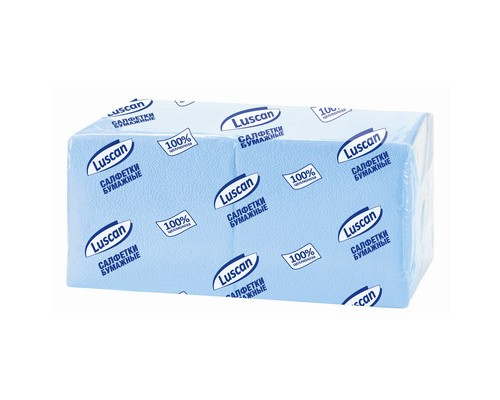 Салфетки бумажные Luscan Profi Pack 1-слойные 24x24 см пастель голубые 400 штук - (470888К)