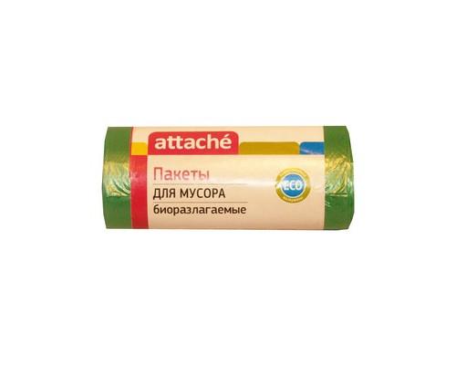Мешки для мусора на 60 литров биоразлагаемые Attache зеленые 12 мкм в рулоне 30 штук 58x68 см - (301952К)