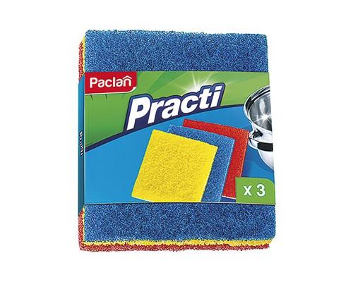 Губки для мытья посуды Paclan Practi абразивные 150х125х20 мм 3 штуки - (272196К)