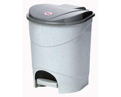 Ведро мусорное 11 л с педалью и внутренним контейнером пластиковое серое - (272208К)