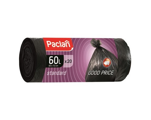 Мешки для мусора на 60 литров Paclan Standart черные 7.4 мкм в рулоне 20 штук 60x70 см - (194361К)