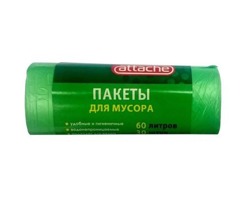 Мешки для мусора на 60 литров Attache зеленые 10 мкм в рулоне 30 штук 58x66 см - (107528К)
