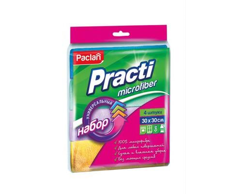 Салфетка хозяйственная микрофибра набор универсальные цветные 30х30см 4 штуки в упаковке - (330707К)