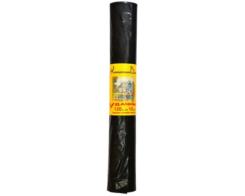 Мешки для мусора на 120 литров Удачные черные 25 мкм в рулоне 10 штук 68x105 см - (391056К)